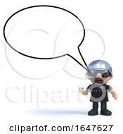 3d Biker With Blank Speech Bubble