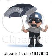 3d Biker Shelters Under An Umbrella