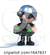 3d Biker Plays A Videogame With A Joystick