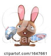 3d Cute Cartoon Easter Bunny Rabbit Character Offers Silver Service by Steve Young
