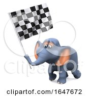 3d Elephant Waves The Checkered Flag by Steve Young