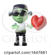 Poster, Art Print Of 3d Child Frankenstein Monster Is In Love