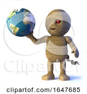 3d Egyptian Mummy Monster Has Globe Of The Earth by Steve Young