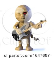 3d Egyptian Mummy Monster Plays Electric Guitar by Steve Young