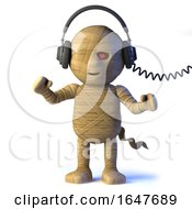 3d Egyptian Mummy Monster Listens To Headphones by Steve Young