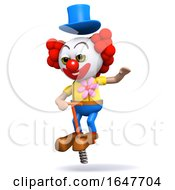3d Clown Bouncing On A Pogo Stick