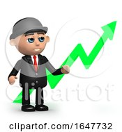 3d Businessman Stands By Upward Pointing Arrow
