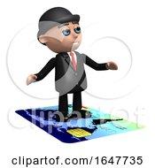 3d Businessman Flies On A Credit Card