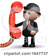 3d Businessman In Bowler Hat Answering The Phone