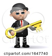 3d Businessman In Bowler Hat Holding A Gold Key