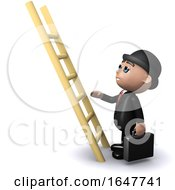 3d Businessman Climbs The Ladder by Steve Young
