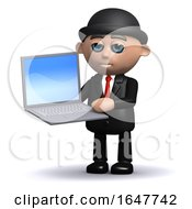 3d Businessman In Bowler Hat Holding A Laptop Computer