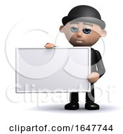 3d Businessman Holds Empty Banner