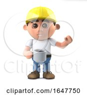 Poster, Art Print Of 3d Construction Worker Takes A Coffee Break
