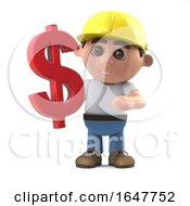 3d Construction Worker Has A US Dollar Currency Symbol by Steve Young