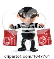 3d Funny Cartoon Criminal Burglar Character Holding Two Sale Bags