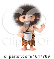 Poster, Art Print Of 3d Funny Cartoon Caveman Drinks A Cup Of Coffee