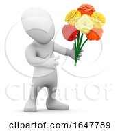 3d Little Man Holds A Bunch Of Flowers