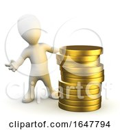 3d Little Person Standing Next To A Stack Of Gold Coins
