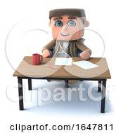 3d Explorer Kid Sits At A Desk