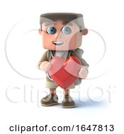 3d Hiker Kid Hugs A Heart