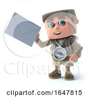 3d Hiker Kid Holding An Envelope