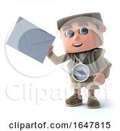 3d Hiker Kid Holding An Envelope