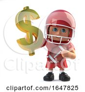 3d American Footballer Holds US Dollar Currency Symbol In Gold
