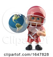 3d American Footballer Holds A Globe Of The Earth