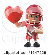 3d American Footballer Holds Up A Red Heart