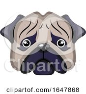 Sad Pug Dog Face by Morphart Creations
