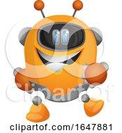 Orange Cyborg Robot Mascot Character
