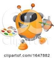 Orange Cyborg Robot Mascot Character Artist