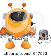 Orange Cyborg Robot Mascot Character Charging