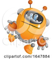 Orange Cyborg Robot Mascot Character Crying