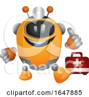 Orange Cyborg Robot Mascot Character With A First Aid Kit