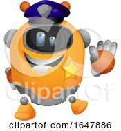 Orange Cyborg Robot Mascot Character Police Officer