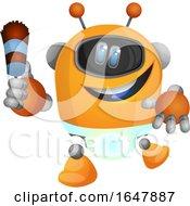 Poster, Art Print Of Orange Cyborg Robot Mascot Character Maid