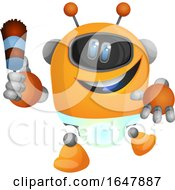 Orange Cyborg Robot Mascot Character Maid
