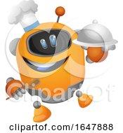Orange Cyborg Robot Mascot Character Chef