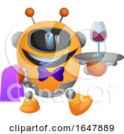 Orange Cyborg Robot Mascot Character Waiter Serving Wine by Morphart Creations
