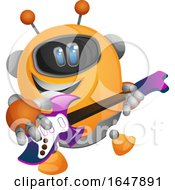 Orange Cyborg Robot Mascot Character Playing A Guitar