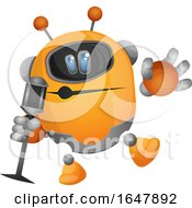 Orange Cyborg Robot Mascot Character Singing