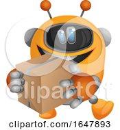 Orange Cyborg Robot Mascot Character Carrying A Box