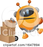 Orange Cyborg Robot Mascot Character Moving Boxes