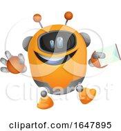 Orange Cyborg Robot Mascot Character Holding An Envelope