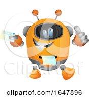 Orange Cyborg Robot Mascot Character Printing A Receipt