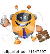 Orange Cyborg Robot Mascot Character Business Man by Morphart Creations