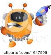 Orange Cyborg Robot Mascot Character With A Laser Gun