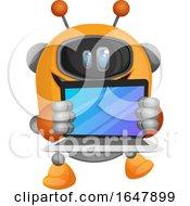 Orange Cyborg Robot Mascot Character Holding A Laptop